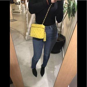 Auth CHANEL Yellow Suede Tassel Shoulder Bag